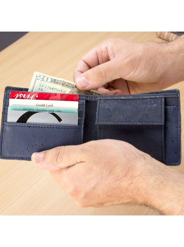 Corkor CK243A Blue wallet with coin pocket inside